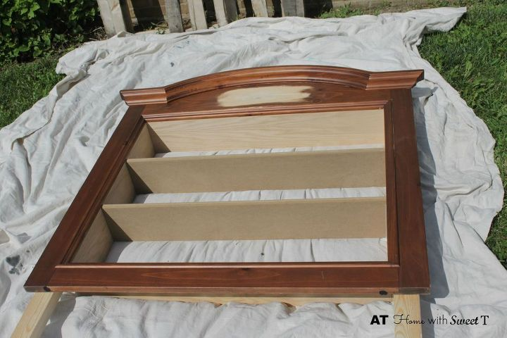 headboard made from dresser mirror, bedroom ideas, diy, home decor, painted furniture, repurposing upcycling