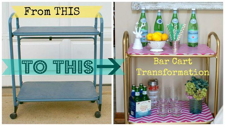 vintage bar cart transformation, repurposing upcycling