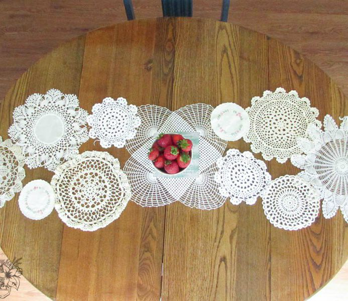 s 6 pinterest inspired projects that are impossible to ignore, crafts, A Table Runner from Vintage Doilies