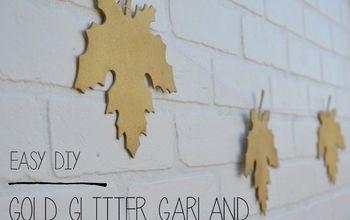 Easy Gold Glitter Leaf Garland