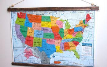 $3 DIY Hanging Wall Map