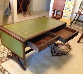 Green leather top drop leaf coffee table info Hometalk