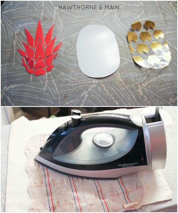 diy pineapple heat vinyl bag, crafts
