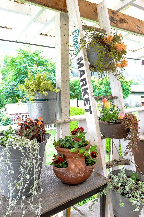 make a charming flower stand ladder with 2x4s and branches, container gardening, crafts, diy, flowers, gardening, how to, repurposing upcycling, woodworking projects