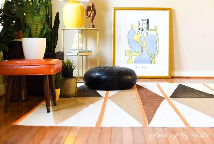 west elm inspired diy painted rug, flooring, how to, repurposing upcycling, reupholster