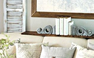 adding faux painted shutters french rustic touches behind the couch, painted furniture, repurposing upcycling, rustic furniture, wall decor