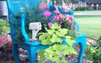garden chair planter, gardening, repurposing upcycling