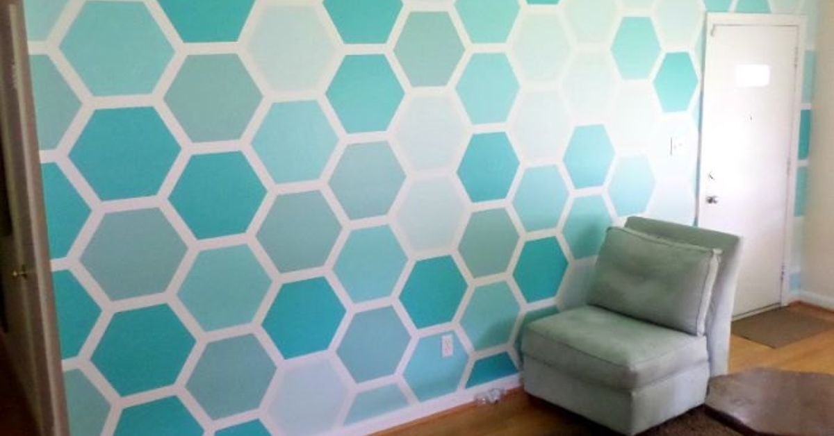 how to tape paint hexagon patterned wall hometalk. Black Bedroom Furniture Sets. Home Design Ideas