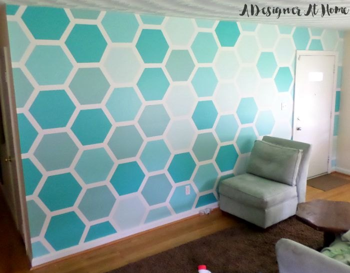 how to tape paint hexagon patterned wall, how to, paint colors, painting, wall decor