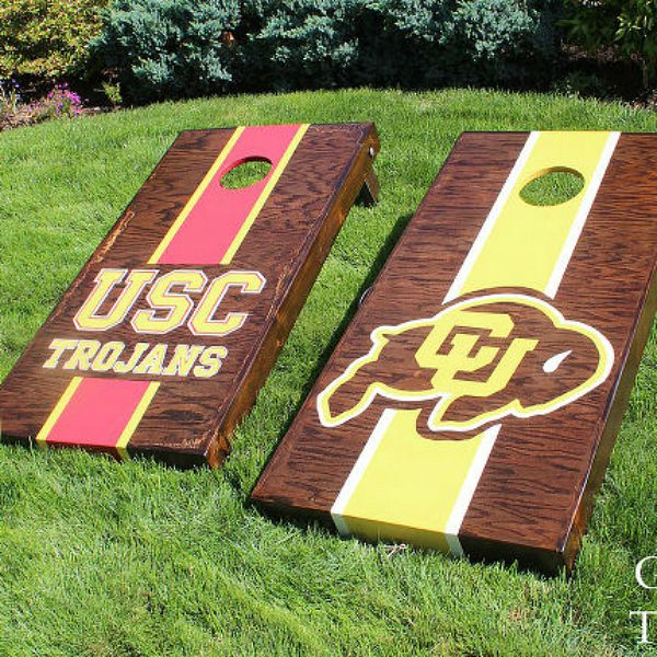 s 10 crazy fun ways to build a cornhole board this summer, outdoor living, woodworking projects, Show Your Team Pride