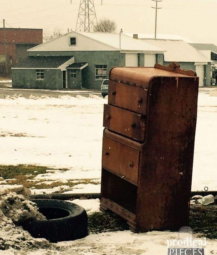 dumpster dresser turned diva, painted furniture, shabby chic