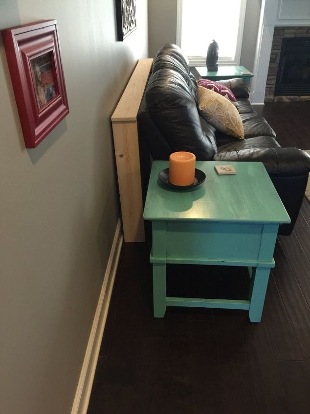 q sofa table yes or no, diy, home decor, living room ideas, painted furniture, woodworking projects, The blue table will be there but is it enough to block the view