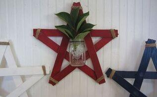 wood slat star mason jar wall vases, crafts, mason jars, repurposing upcycling, wall decor