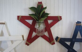 Wood Slat Star Mason Jar Wall Vases