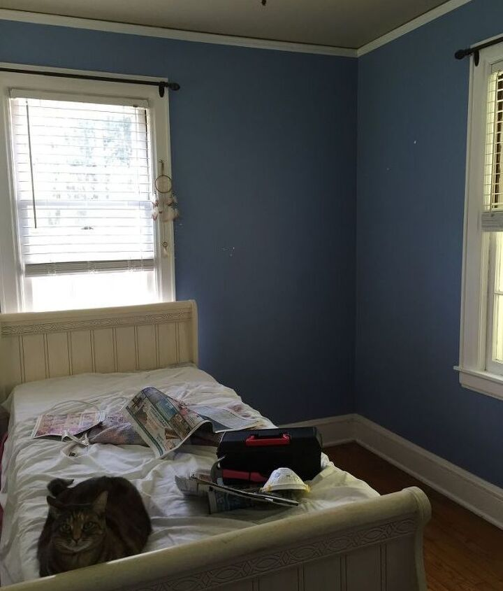 fabric accent wall, bedroom ideas, home decor, reupholster, wall decor