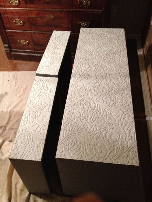 paintable wallpaper added to drawer fronts