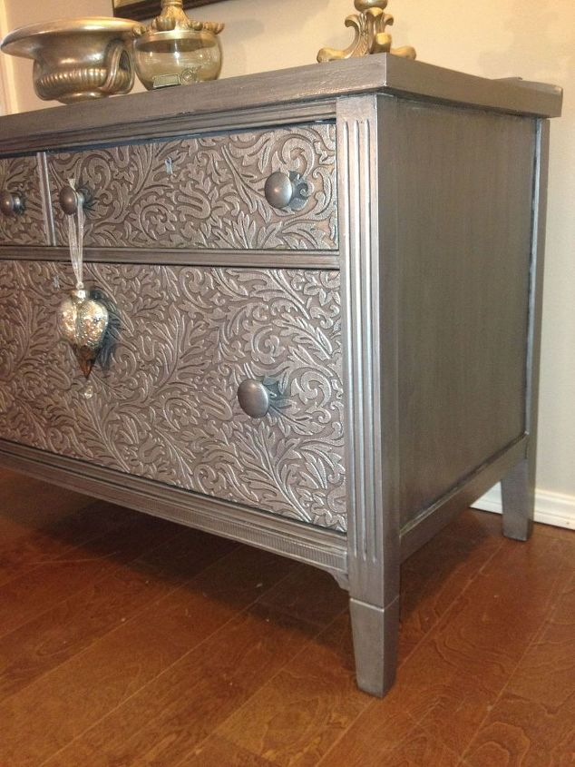 how to remove old veneer before and after metallic painted dresser, how to, painted furniture