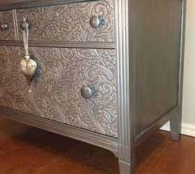 How To Remove Old Veneer Before And After Metallic Painted Dresser, How To,  Painted
