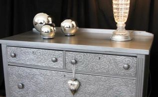 how to remove old veneer before and after metallic painted dresser, how to, painted furniture, This chest had great bones