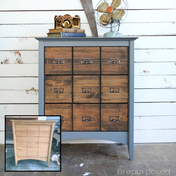 s 15 trash to treasure triumphs that will make you love industrial decor, painted furniture, repurposing upcycling, Thrift Store Find to Faux Card Catalog