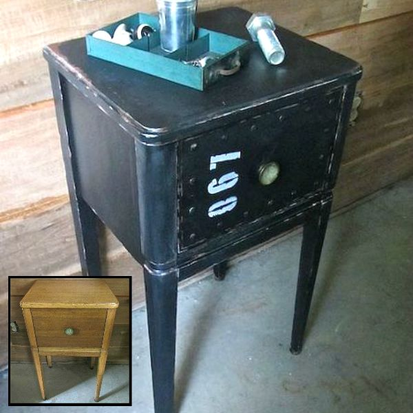 s 15 trash to treasure triumphs that will make you love industrial decor, painted furniture, repurposing upcycling, Metal Style Nightstand from a Wooden Castoff