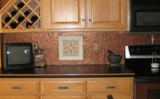 faux tin or copper backsplash diy on a budget with lots of photos, kitchen backsplash, kitchen design, tiling