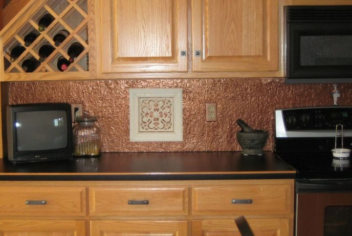 Faux Tin Or Copper Backsplash Diy On A Budget With Lots Of Photos