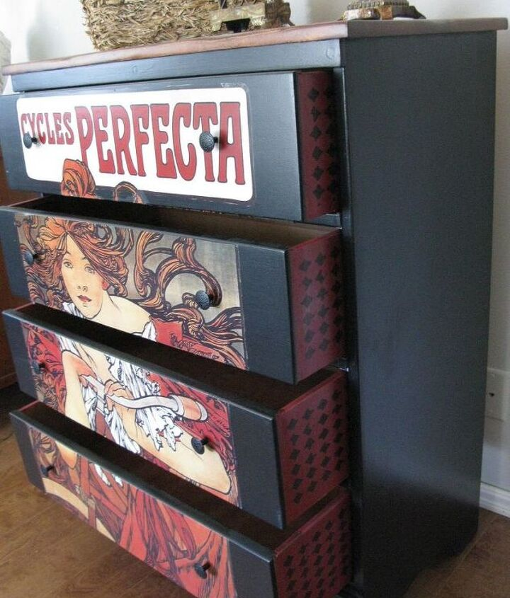 painted furniture with decoupodge poster, decoupage, painted furniture