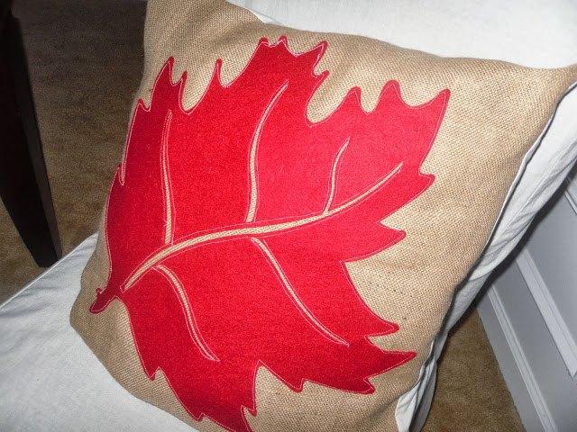 pretty fall leaf pumpkin pillows from dollar tree felt decoration, crafts, reupholster