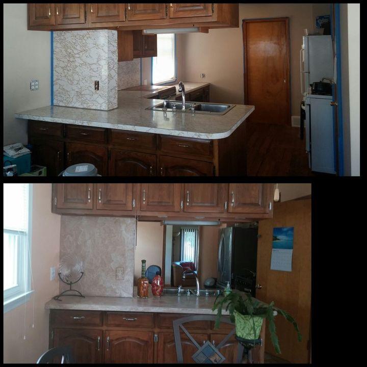 d i y brown paper bag countertop, countertops, diy, kitchen design, repurposing upcycling