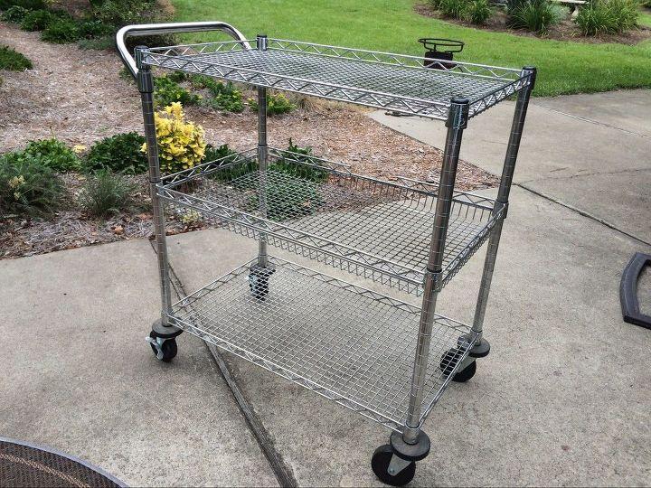Silver metal cart.