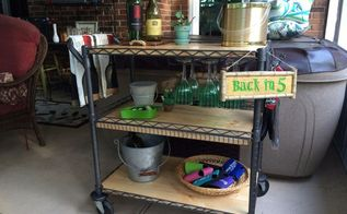 beverage cart made from a metal utility cart, painted furniture, repurposing upcycling, Added a wine glass rack under the top shelf