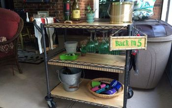 Beverage Cart Made From a Metal Utility Cart!
