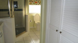 , This is the linen closet where the old shower was New tile on floor