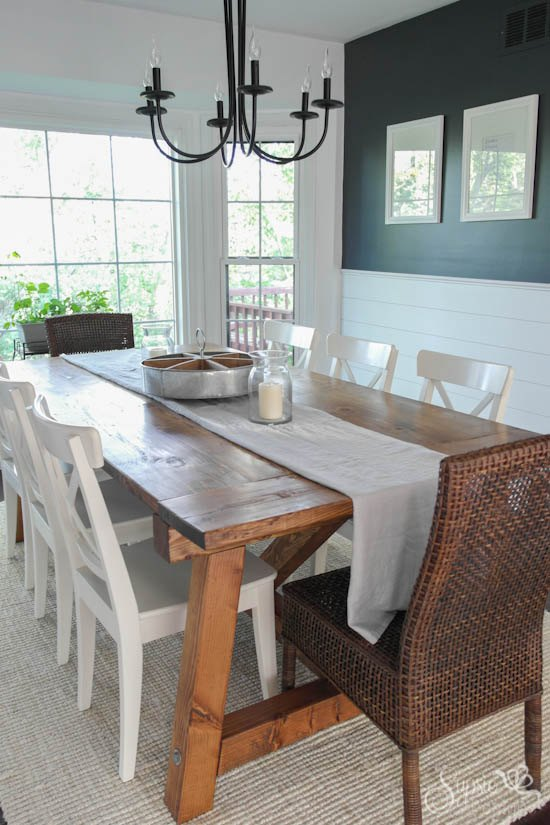 farmhouse table and dining room makeover, dining room ideas, diy, painted furniture, woodworking projects