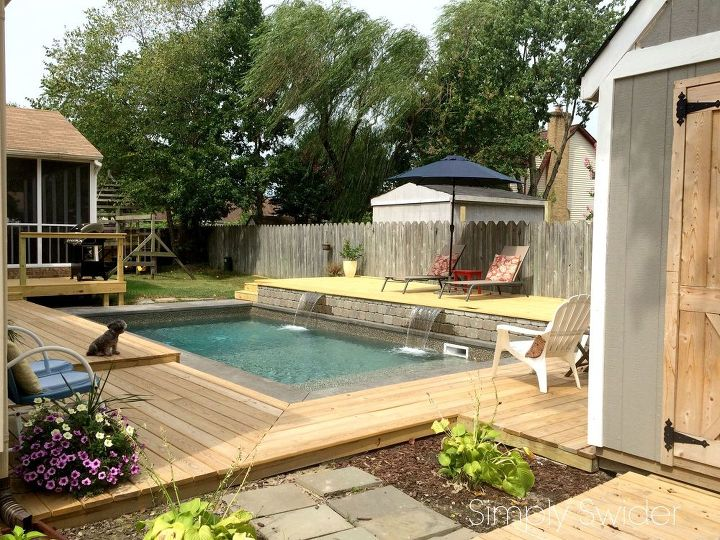 backyard makeover one year later, decks, diy, fences, outdoor living, pool designs