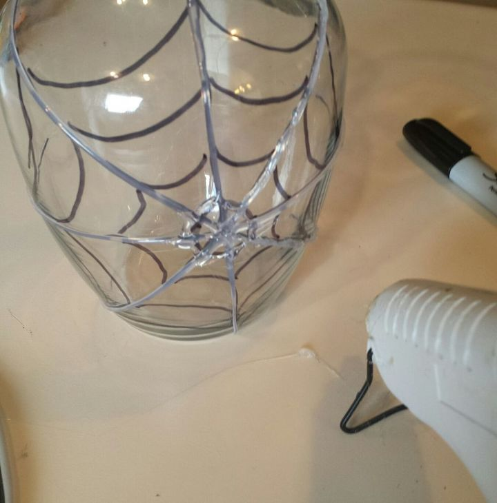 dollar store crafting spider web vase, crafts, halloween decorations