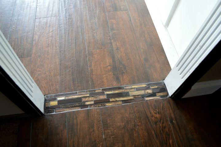 mosaic tile floor transition, diy, flooring, tile flooring