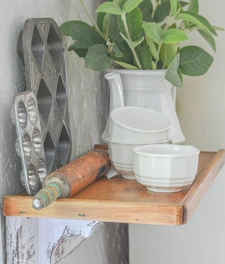 create a distressed farmhouse style shelf for your kitchen, kitchen design, shelving ideas, wall decor
