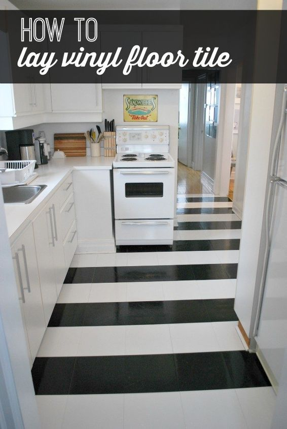 How To Lay Vinyl Black And White Flooring (In Stripes!) | Hometalk Black And White Checkerboard Kitchen Ideas Html on black and white kitchen floor rug, black and white checkered canister sets, black and white tile kitchen floor, black and white kitchen designs,