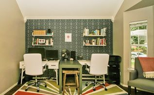 a pretty home office makeover using stencils, home decor, home office, painting, wall decor