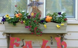 creating a fun banner for a fall window box, container gardening, crafts, seasonal holiday decor