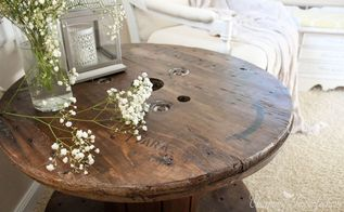 high end spool side table for a fraction of the cost, painted furniture, repurposing upcycling, rustic furniture
