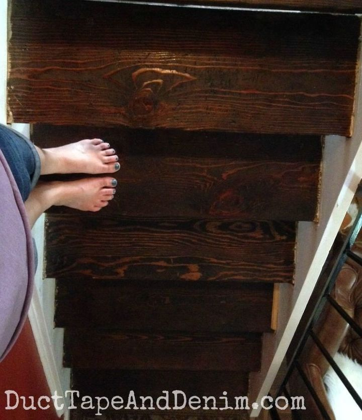 we got rid of the nasty carpet on our stairs and stained them, diy, how to, painting, stairs