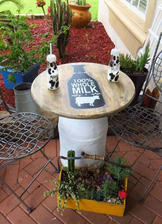 s 11 charming things you can do with an old milk can, crafts, Turn It Into a Patio Table