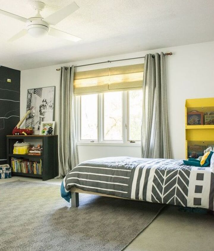 before after modern and bright boy room with lots of diys, bedroom ideas, diy, home decor, painted furniture, painting, wall decor