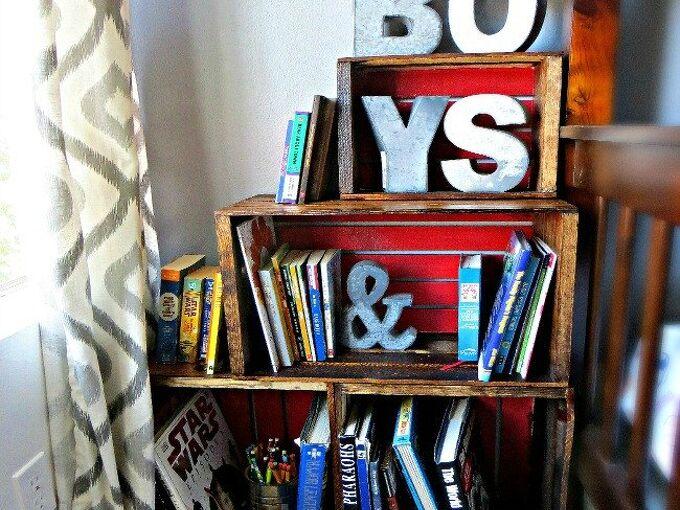 diy woodcrate bookcase, bedroom ideas, closet, organizing, shelving ideas, wall decor