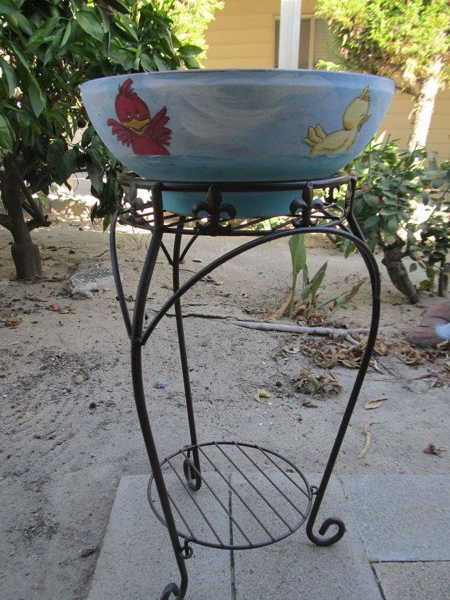 hand painted bird bath, outdoor living, repurposing upcycling