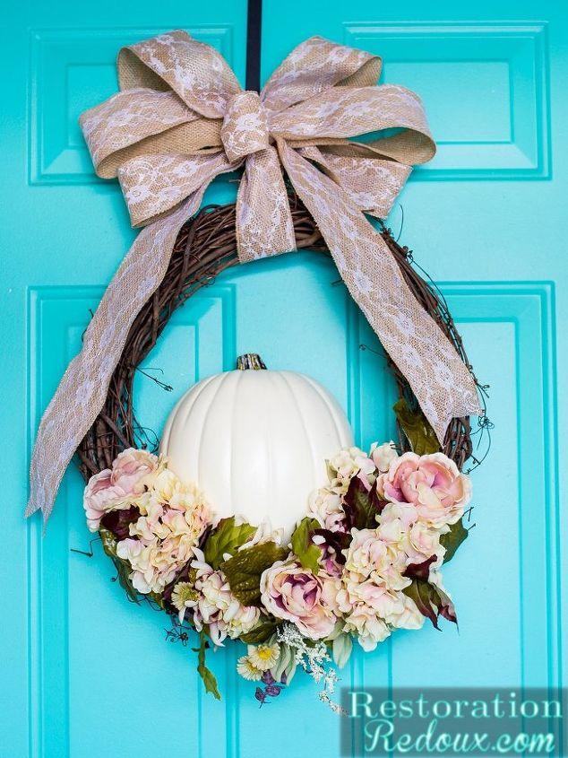 fall floral pumpkin wreath, crafts, seasonal holiday decor, wreaths