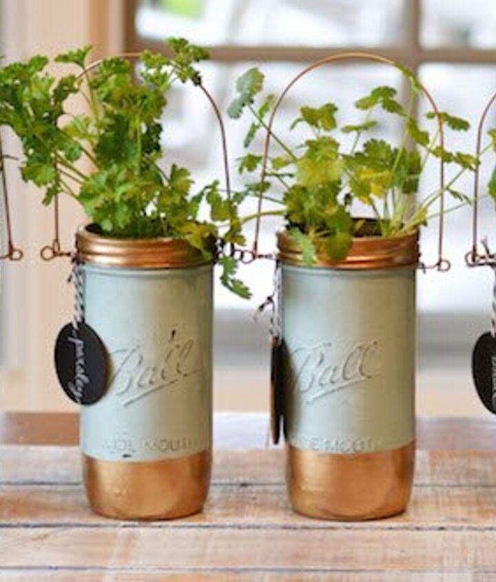 mason jar herb garden, container gardening, mason jars, repurposing upcycling